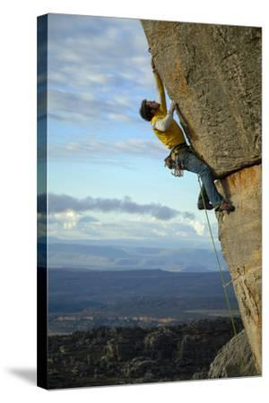 A Man Climbs in the Cederberg Wilderness Area, South Africa-Keith Ladzinski-Stretched Canvas Print