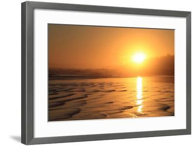 The Sun Sets over Maine's Higgins Beach in Wintertime-Robbie George-Framed Photographic Print