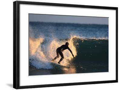 A Surfer Rides a Winter Wave Off the Coast of Maine-Robbie George-Framed Photographic Print
