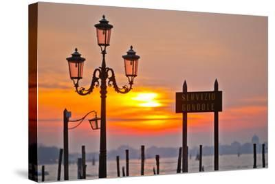 Sunrise over the Gondola Station at Saint Mark's Square in Venice-Mike Theiss-Stretched Canvas Print