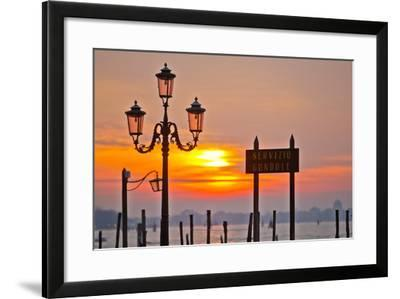 Sunrise over the Gondola Station at Saint Mark's Square in Venice-Mike Theiss-Framed Photographic Print