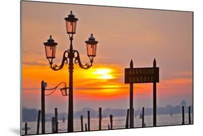Sunrise over the Gondola Station at Saint Mark's Square in Venice-Mike Theiss-Mounted Photographic Print