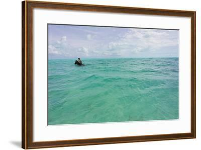 A Woman Riding a Horse in Turquoise Caribbean Waters, Near Shore-Mike Theiss-Framed Photographic Print