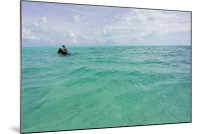A Woman Riding a Horse in Turquoise Caribbean Waters, Near Shore-Mike Theiss-Mounted Photographic Print