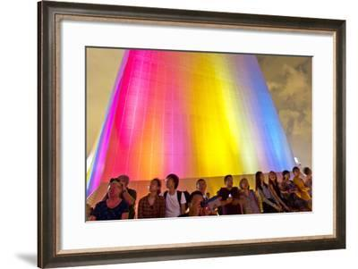 Colorful Lights Illuminate a Building During a Laser and Light Show over the City of Hong Kong-Mike Theiss-Framed Photographic Print