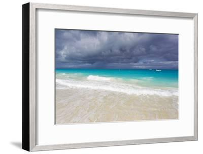 Storm Clouds Roll in over Turquoise Waters and a Beach-Mike Theiss-Framed Photographic Print