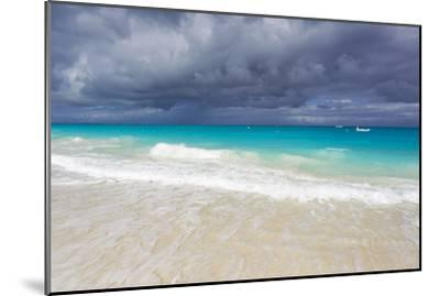 Storm Clouds Roll in over Turquoise Waters and a Beach-Mike Theiss-Mounted Photographic Print