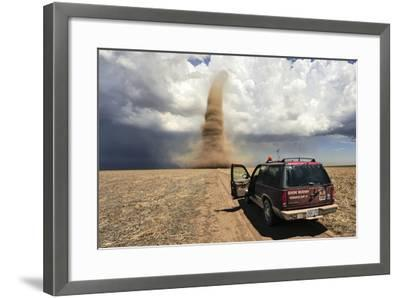 Professional Storm Chasers Monitor an Approaching Tornado-Jim Reed-Framed Photographic Print
