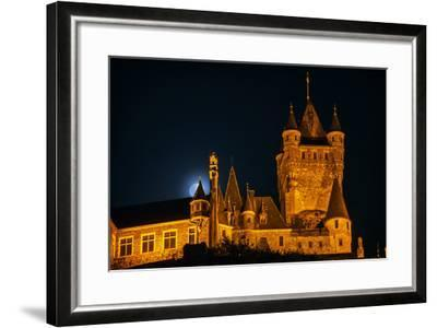 The Moon, Illuminated Sunlight Reflected on Earth's Surface, Behind the Imperial Castle of Cochem-Babak Tafreshi-Framed Photographic Print