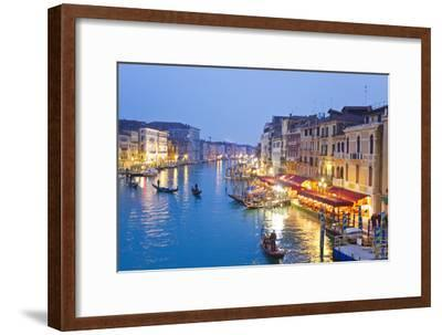 Outdoor Cafes and Gondolas Line Venice's Grand Canal Reflecting City Lights at Dusk-Mike Theiss-Framed Premium Photographic Print