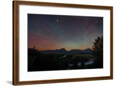 The Night Sky over the Grand Teton National Park and the Snake River-Babak Tafreshi-Framed Photographic Print