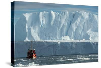 A Tourist Boat in the Waters of the Ilulissat Icefjord-Michael Melford-Stretched Canvas Print