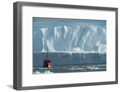 A Tourist Boat in the Waters of the Ilulissat Icefjord-Michael Melford-Framed Photographic Print