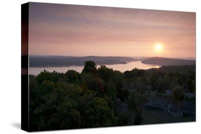 A View of Sunset over Lake Yaxha, from Tikal Temple 216-Sergio Pitamitz-Stretched Canvas Print