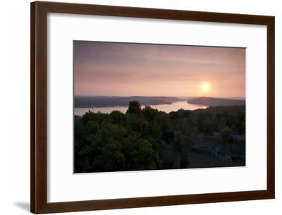 A View of Sunset over Lake Yaxha, from Tikal Temple 216-Sergio Pitamitz-Framed Photographic Print