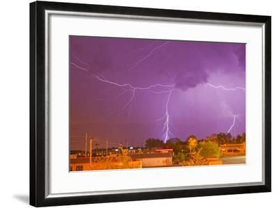 Multiple Lightning Bolts During an Intense Lightning Storm-Mike Theiss-Framed Photographic Print