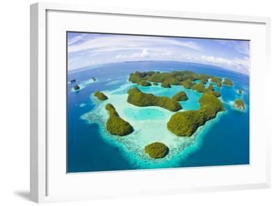 An Aerial Fisheye Lens View of Palau's Rock Islands in the Turquoise Waters of the Pacific Ocean-Mike Theiss-Framed Photographic Print