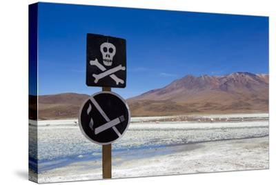 A Skull and Cross Bones Danger Sign on Edge of a Dried Up Lagoon-Mike Theiss-Stretched Canvas Print