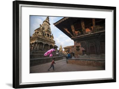 A Young Cotton Candy Seller Walking Through Durbar Square-Michael Melford-Framed Photographic Print