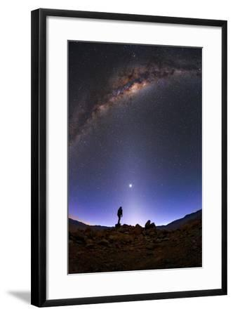 The Milky Way, Venus, and Zodiacal Light Above a Stargazer in the Desert-Babak Tafreshi-Framed Photographic Print