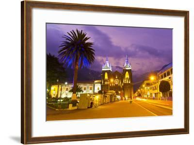 Pink Sunset over the Church of the Virgin of the Holy Water and the Main Square in Banos-Mike Theiss-Framed Photographic Print