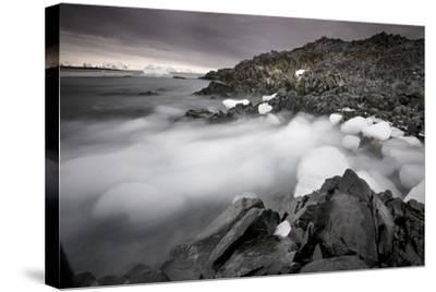 Foggy Landscape of Ice Blocks on a Rocky Beach-Jim Richardson-Stretched Canvas Print