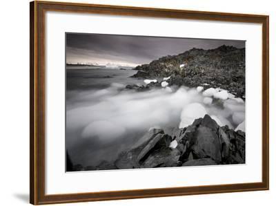 Foggy Landscape of Ice Blocks on a Rocky Beach-Jim Richardson-Framed Photographic Print