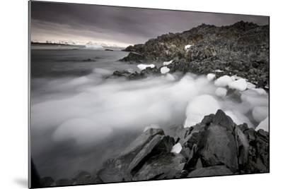 Foggy Landscape of Ice Blocks on a Rocky Beach-Jim Richardson-Mounted Photographic Print