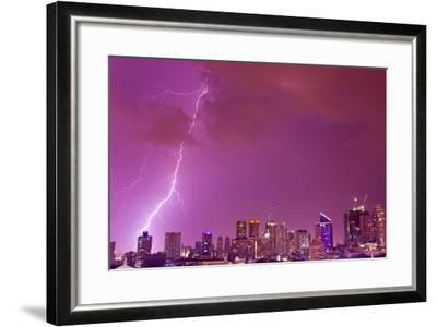 A Intense Thunderstorm with Lightning over the Skyline of Manila-Mike Theiss-Framed Photographic Print