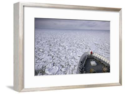 A Cruise Ship Pushes Through the Ice Pack in Grandidier Channel-Jim Richardson-Framed Photographic Print