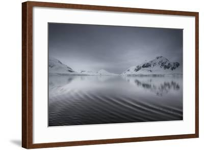 Icebergs and Mountains Reflected in a Rippled Surface of the Ocean-Jim Richardson-Framed Photographic Print