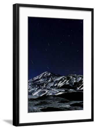 A Long Exposure Image Captured Star Trails around the North Celestial Pole over Mount Damavand-Babak Tafreshi-Framed Photographic Print