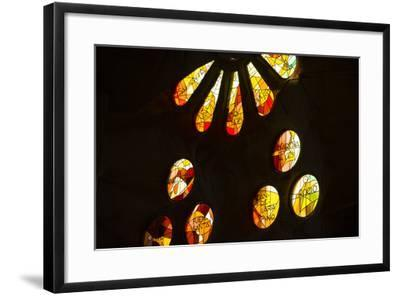 A Portion of a Rose Window at La Sagrada Familia Catedral-Michael Melford-Framed Photographic Print