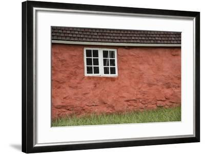 An Old Wooden Framed Window in an Old Stone Walled Historic Home at the Sisimiut Museum-Michael Melford-Framed Photographic Print
