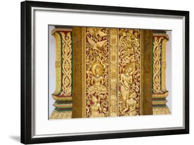 Gilded Wall Carvings at Wat Xieng Thong Monastery-Michael Melford-Framed Photographic Print