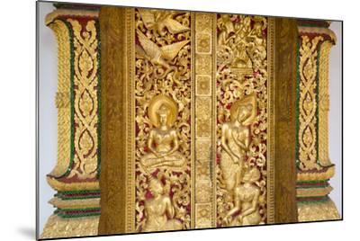 Gilded Wall Carvings at Wat Xieng Thong Monastery-Michael Melford-Mounted Photographic Print