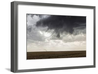 A Long, Snake-Like, Tornado Spins across Cropland-Jim Reed-Framed Photographic Print