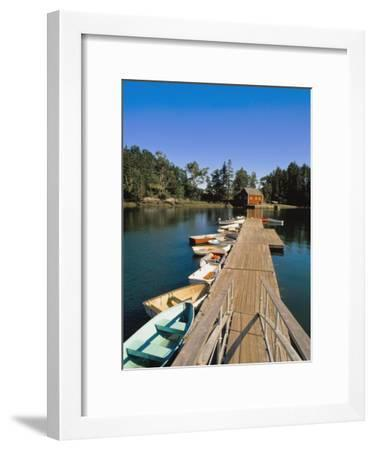 Old Wooden Pier and Boats in Harbor-Design Pics Inc-Framed Photographic Print