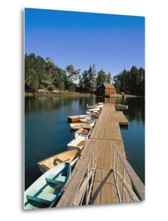 Old Wooden Pier and Boats in Harbor-Design Pics Inc-Metal Print