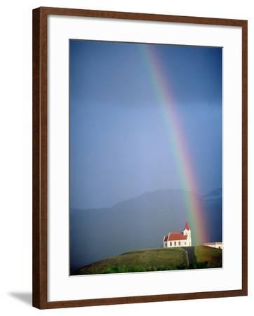 Rainbow over Church and Snaefellsness-Design Pics Inc-Framed Photographic Print