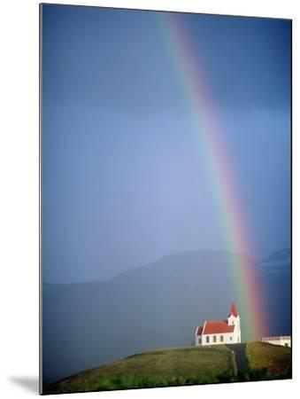Rainbow over Church and Snaefellsness-Design Pics Inc-Mounted Photographic Print