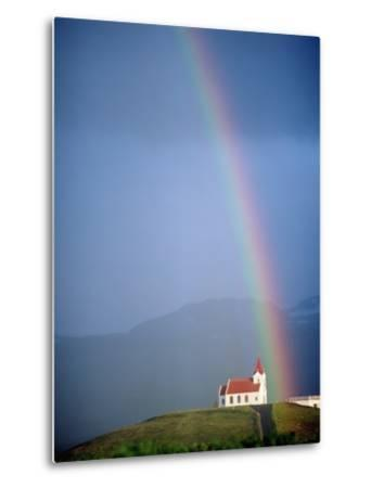 Rainbow over Church and Snaefellsness-Design Pics Inc-Metal Print