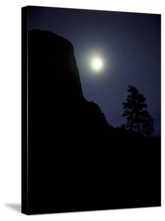Moonrise in Sky over Devil's Tower, Devil's Tower National Monument, Wyoming-Keith Ladzinski-Stretched Canvas Print