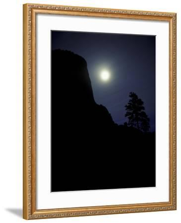 Moonrise in Sky over Devil's Tower, Devil's Tower National Monument, Wyoming-Keith Ladzinski-Framed Photographic Print