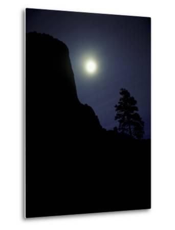 Moonrise in Sky over Devil's Tower, Devil's Tower National Monument, Wyoming-Keith Ladzinski-Metal Print
