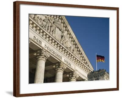 Detail of Bundestag (Reichstag) with German Flag in Front-Design Pics Inc-Framed Photographic Print