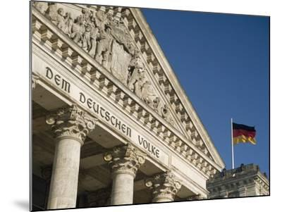 Detail of Bundestag (Reichstag) with German Flag in Front-Design Pics Inc-Mounted Photographic Print