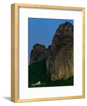 The World Heritage Site of Meteora at Early Dusk-Babak Tafreshi-Framed Photographic Print