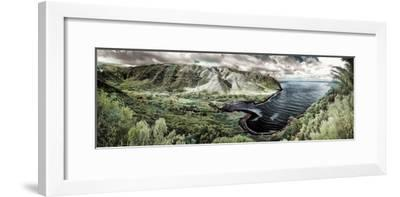 Panoramic Infrared Image of Halawa Valley and Bay at the East End of Molokai Island-Richard Cooke-Framed Photographic Print