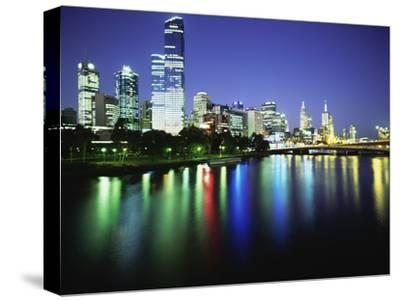 Melbourne Skyline at Night-Design Pics Inc-Stretched Canvas Print